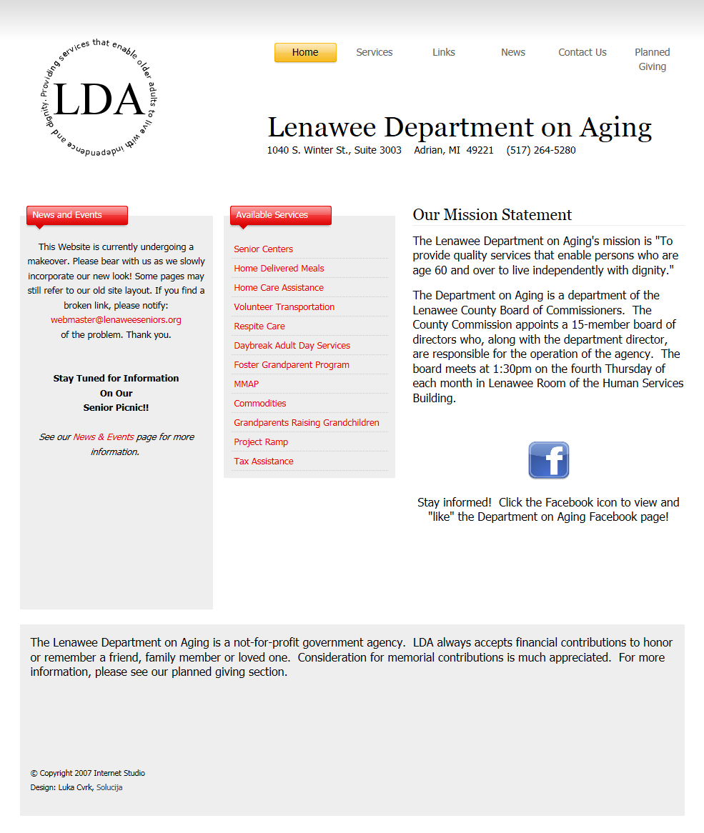 Lenawee Department on Aging Old Website